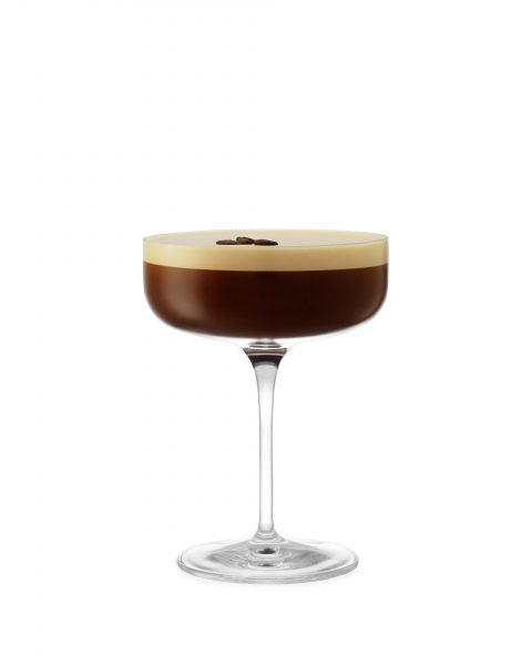 Espresso-martini-coffee-bean-foam on white cut out cocktail photography fotograf drinkov london bratislava