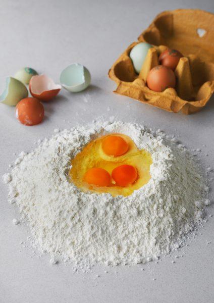 Flour-broken-eggs-paste-making-penne-ravioli