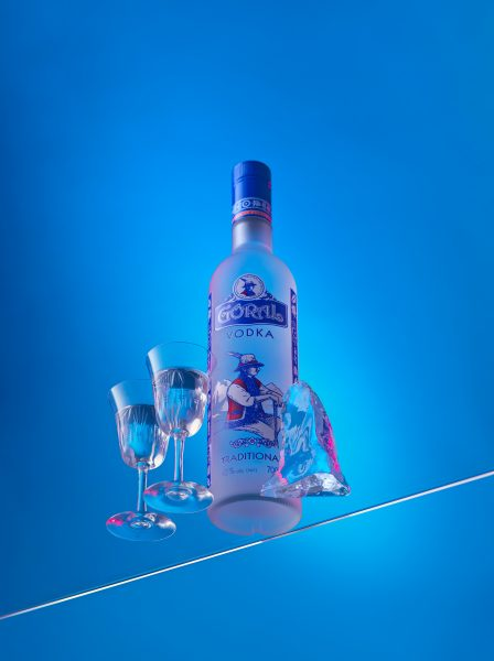 Goral vodka drink bottle photography graphic blue fotografia sklo ice block shot glasses photographer slovenska stara lubovna