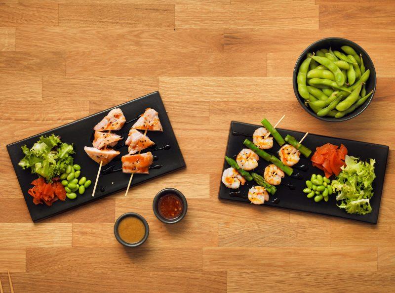 japanese-skewers-youmesushi-prawn-chicken-beans-You-me-sushi