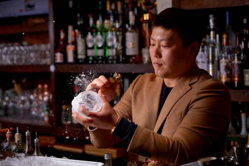 Tae Yeol Kim ogam tapas bar ice carving action cocktail making